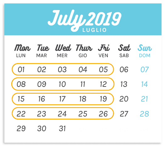 Calendario Summer Camp Luglio 2