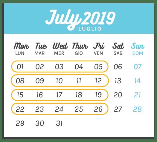 Calendario Summer Camp Luglio 2