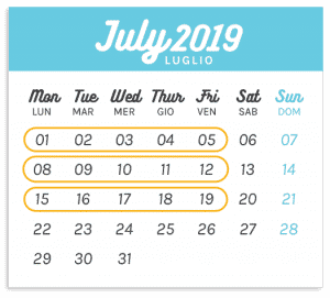 Calendario Summer Camp Luglio 1