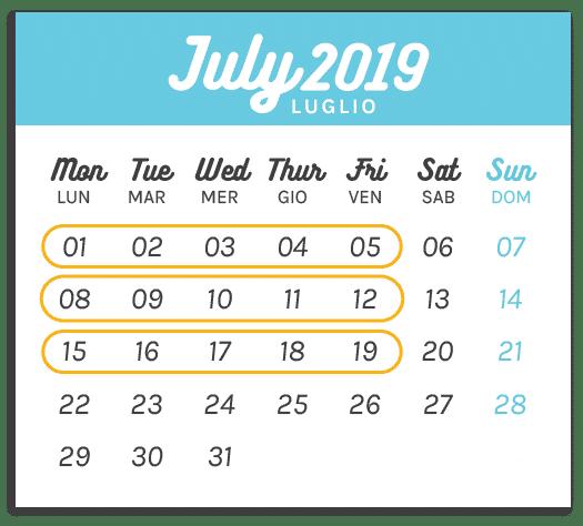 Calendario Summer Camp Luglio 1