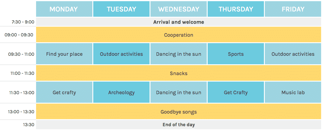 Timetable Fellegara Summer Camp