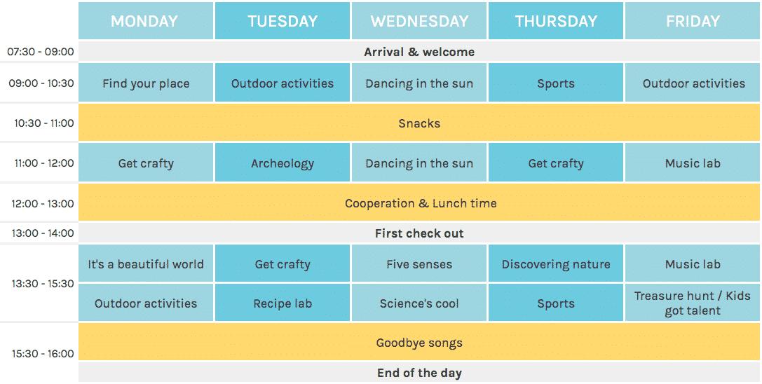 Ponte Luna Summer Camp Timetable